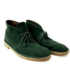 Clarks Mens Chukka Boots Size 12 M Green Leather